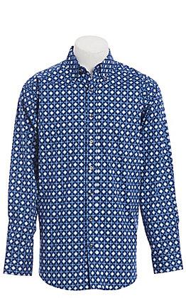 Tuf Cooper by Pandhandle Blue Aztec Geo Print Western Shirt