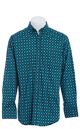Tuf Cooper by Pandhandle Turquoise Aztec Geo Print Western Shirt