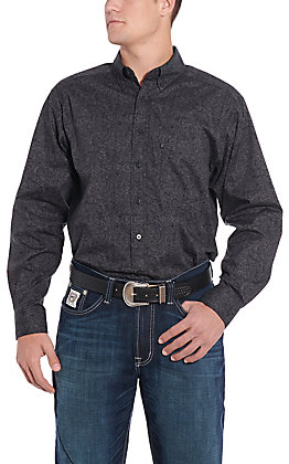 Tuf Cooper by Pandhandle Charcoal Paisley Print Western Shirt