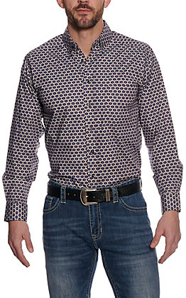 Panhandle Tuff Cooper Performance Blue Geo Print Long Sleeve Western Shirt