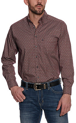 Panhandle Tuff Cooper Performance Burgundy Geo Print Long Sleeve Western Shirt