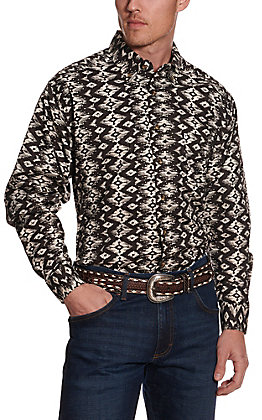 Panhandle Tuf Cooper Men's Black and White Aztec Diamond Print Stretch Long Sleeve Western Shirt