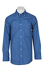 Panhandle Men's Tuf Cooper Performance Stretch Blue Geo Print L/S Western Fashion Shirt