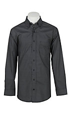 Panhandle Men's Tuf Cooper Performance Stretch Grey Geo Print L/S Western Fashion Shirt