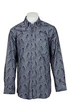 Panhandle Men's Tuf Cooper Performance Stretch Blue/Grey Paisley Print L/S Western Fashion Shirt
