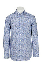 Panhandle Men's Tuf Cooper Performance Stretch Shades of Blue Paisley Print L/S Western Fashion Shirt