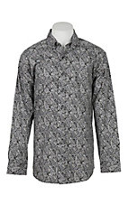 Panhandle Men's Tuf Cooper Performance Stretch Grey Paisley L/S Western Fashion Shirt