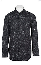 Panhandle Men's Tuf Cooper Performance Stretch Black Paisley Western Shirt