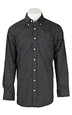 Panhandle Men's Tuf Cooper Performance Stretch Black Diamond Spot Print L/S Western Fashion Shirt