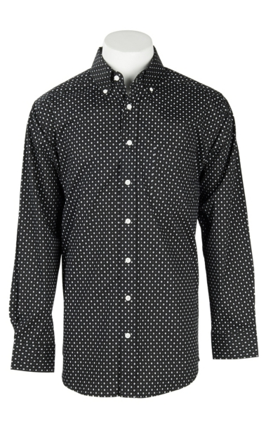 Wholesale Panhandle Men's Tuf Cooper Performance Stretch Black Diamond Spot Print L/S Western Fashion Shirt for cheap