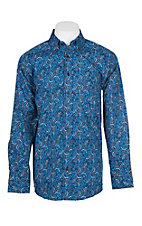 Panhandle Men's Tuf Cooper Performance Stretch Royal Blue Paisley Western Shirt