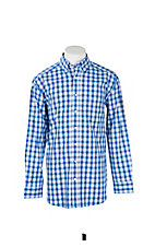Panhandle Men's Tuf Cooper Performance Stretch Blue Plaid Print L/S Western Fashion Shirt