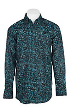 Panhandle Men's Tuf Cooper Performance Stretch Black and Blue Paisley Western Shirt