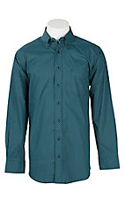 Panhandle Men's Tuf Cooper Performance Stretch Blue w/ Turquoise Target Print L/S Western Fashion Shirt
