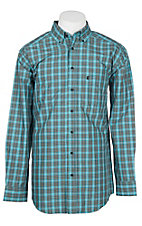 Panhandle Men's Tuf Cooper Performance Stretch Turquoise Plaid Western Shirt