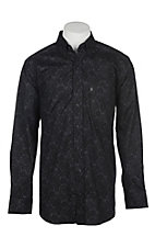Panhandle Men's Tuf Cooper Performance Stretch Black Paisley Print L/S Western Shirt