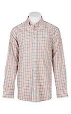 Panhandle Men's Tuf Cooper Performance Stretch Orange, Grey and White Plaid L/S Western Shirt
