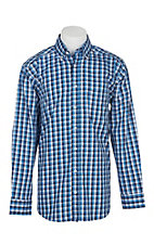 Panhandle Men's Tuf Cooper Performance Stretch Blue and White Plaid L/S Western Shirt
