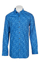Panhandle Men's Tuf Cooper Performance Stretch Blue Paisley Print L/S Western Shirt