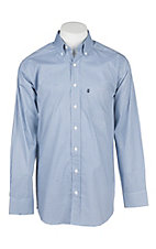 Panhandle Men's Tuf Cooper Performance Stretch Blue and White Mini Print L/S Western Shirt
