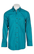 Panhandle Men's Tuf Cooper Performance Stretch Turquoise Print L/S Western Shirt