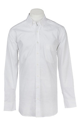 Panhandle Men's Tuf Cooper Performance Stretch White L/S Western Shirt