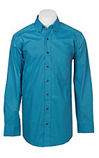 Panhandle Men's Tuf Cooper Performance Stretch Turquoise Geo Mini Print L/S Western Shirt