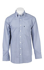 Panhandle Men's Tuf Cooper Performance Stretch Blue Mini Geo Print L/S Western Shirt