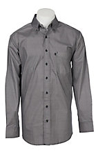 Panhandle Men's Tuf Cooper Performance Stretch Charcoal Geo Mini Print L/S Western Shirt