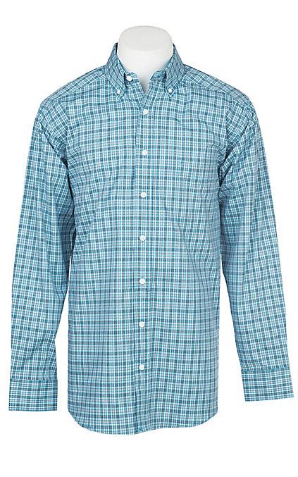 90ceec39b Panhandle Men's Tuf Cooper Performance Stretch Aqua Plaid Print Long Sleeve  Western Shirt