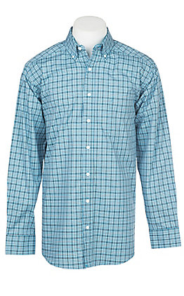 Panhandle Men's Tuf Cooper Performance Stretch Aqua Plaid Print L/S Western Shirt