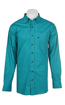 Panhandle Men's Tuf Cooper Performance Stretch Aqua Print L/S Western Shirt