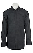 Panhandle Men's Tuf Cooper Performance Stretch Black Diamond Print L/S Western Shirt