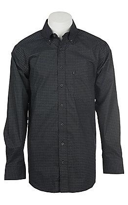 Panhandle Men's Tuf Cooper Performance Stretch Black Diamond Print L/S Western Shirt
