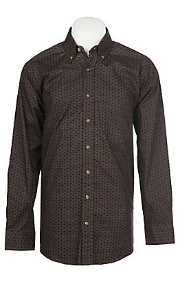Panhandle Men's Tuf Cooper Performance Stretch Rope Brown Geo Print L/S Western Shirt