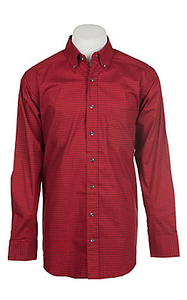Panhandle Men's Tuf Cooper Performance Stretch Red Geo Diamond Print L/S Western Shirt