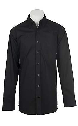 Panhandle Men's Tuf Cooper Performance Stretch Black Dot Print Long Sleeve Western Shirt