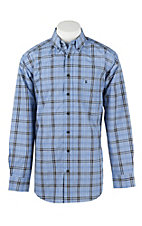 Panhandle Men's Tuf Cooper Royal Blue, Black, and White Plaid L/S Western Shirt
