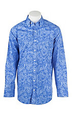 Panhandle Men's Tuf Cooper Royal Blue and Light Blue Paisley Print L/S Western Shirt