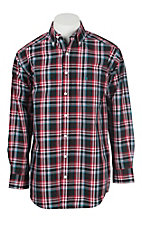 Panhandle Men's Tuf Cooper Red, Blue, Black, and White Plaid Long Sleeve Western Shirt