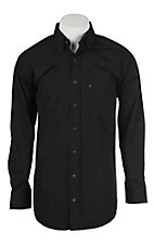 Panhandle Men's Solid Black Dobby Long Sleeve Western Shirt