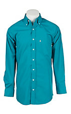 Panhandle Men's Solid Turquoise Dobby Long Sleeve Western Shirt