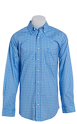 Tuf Cooper by Pandhandle Blue Medallion Print Western Shirt