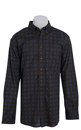 Tuf Cooper by Pandhandle Blue Floral Print Western Shirt