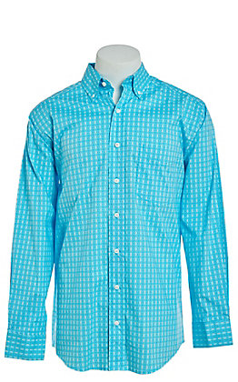 Tuf Cooper by Pandhandle Teal Medallion Print Western Shirt