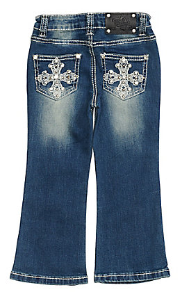 Wired Heart Toddler Girls Cross Embroidered Boot Cut Jeans