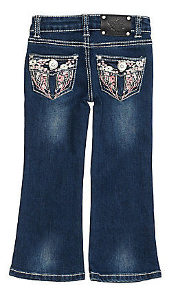 Wired Heart Toddler Girls Floral Wings Embroidered Boot Cut Jeans