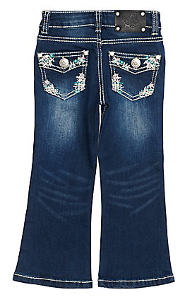 Wired Heart Toddler Girls Patch Stitch Embroidered Boot Cut Jeans