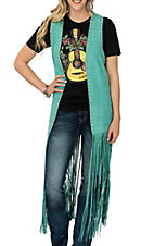 Crazy Train Women's Teal Fringe Duster Vest