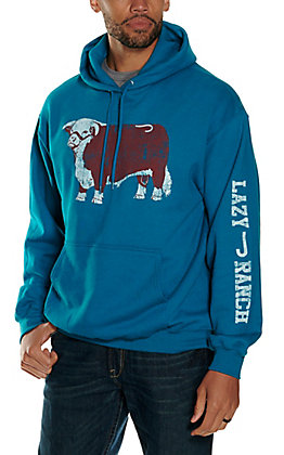 Lazy J Ranch Wear Men's Teal Jughead Logo Hoodie